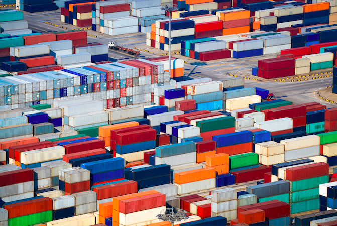 hundreds of shipping containers from an aerial perspective