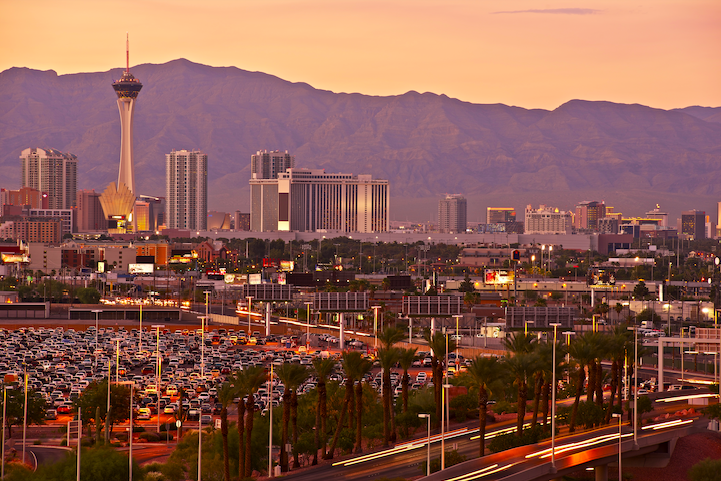 the las vegas strip from a distant viewpoint at sunset