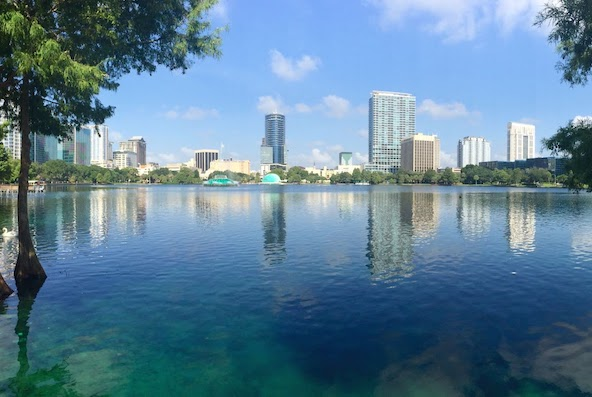 view of downtown Orlando Florida from a lake