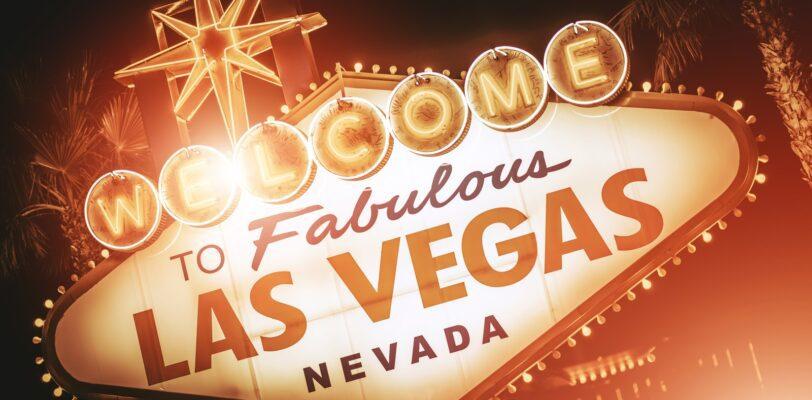 Strip Sign of Las Vegas Closeup Photo. Famous Strip Entering Welcome Sign